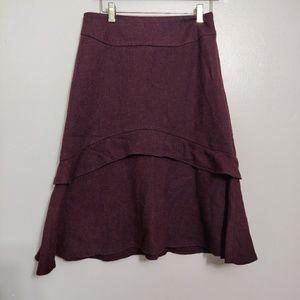 Wool A line Midi Burgendy Skirt